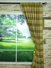 Hudson Cotton Blend Large Plaid Back Tab Curtain