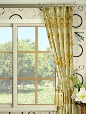 Hebe Mid-scale Scrolls Single Pinch Pleat Velvet Curtains