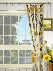 Hebe Floral Damask Double Pinch Pleat Velvet Curtains