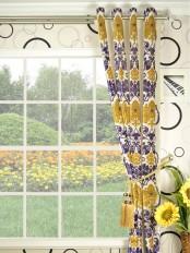 Hebe Floral Damask Grommet Velvet Curtain