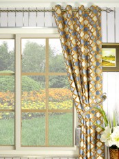 Maia Geometrical Grommet Velvet Curtains