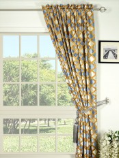 Maia Geometrical Rod Pocket Velvet Curtain
