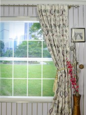 Silver Beach Embroidered All-over Flowers Back Tab Faux Silk Curtain