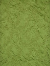 Silver Beach Embroidered Plush Vines Faux Silk Custom Made Curtains (Color: Apple Green)