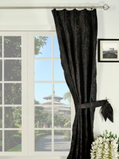 Silver Beach Embroidered Plush Vines Versatile Pleat Faux Silk Curtains
