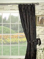 Silver Beach Embroidered Plush Vines Goblet Faux Silk Curtains