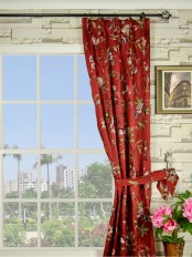 Silver Beach Embroidered Cheerful Double Pinch Pleat Faux Silk Curtain