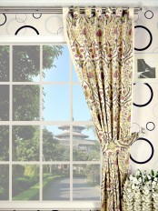 Silver Beach Embroidered Colorful Damask Tab Top Faux Silk Curtain