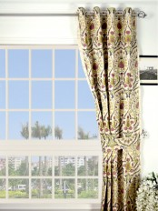 Silver Beach Embroidered Colorful Damask Grommet Faux Silk Curtain