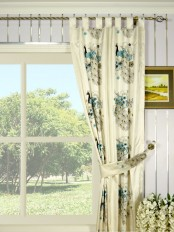 Silver Beach Embroidered Peacocks Tab Top Faux Silk Curtain