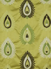 Silver Beach Embroidered Extravagant Faux Silk Custom Made Curtains (Color: Pear)