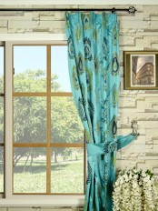 Silver Beach Embroidered Extravagant Versatile Pleat Faux Silk Curtain