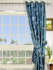 Halo Embroidered Peony Grommet Dupioni Silk Curtain