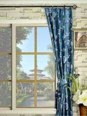 Halo Embroidered Peony Single Pinch Pleat Dupioni Silk Curtains