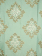 Halo Embroidered Medium-scale Damask Dupioni Silk Fabrics (Color: Magic mint)