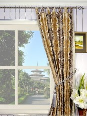 Halo Embroidered Vase Damask Tab Top Dupioni Curtains