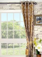 Halo Embroidered Vase Damask Grommet Dupioni Curtain