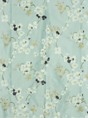 Halo Embroidered Four-leaf Clovers Dupioni Silk Fabrics (Color: Magic mint)