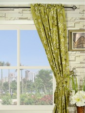 Halo Embroidered Four-leaf Clovers Rod Pocket Dupioni Silk Curtains