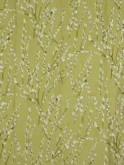 Halo Trendy Embroidered Plants Dupioni Silk Fabrics (Color: Olive)