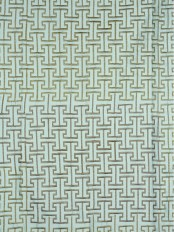Halo Embroidered Maze-like Design Dupioni Silk Fabrics (Color: Magic mint)