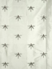 Halo Embroidered Dragonflies Dupioni Silk Custom Made Curtains