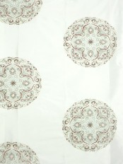 Halo Embroidered Round Damask Dupioni Silk Fabrics