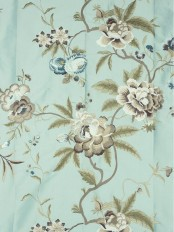 Halo Embroidered Camellias Dupioni Silk Custom Made Curtains