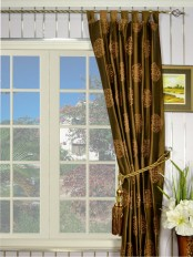 Halo Embroidered Chinese-inspired Tab Top Dupioni Silk Curtain