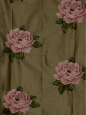 Rainbow Embroidered Plush Peonies Dupioni Silk Custom Made Curtains