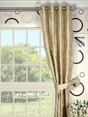 Rainbow Embroidered Scroll Grommet Dupioni Silk Curtain