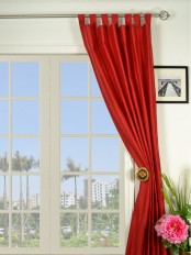 Oasis Solid-color Tab Top Dupioni Silk Curtains