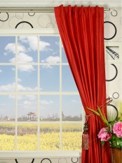 Oasis Solid-color Back Tab Dupioni Curtains