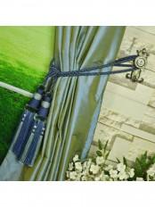 Oasis Solid Blue Dupioni Silk Custom Made Curtains