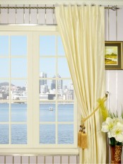Oasis Traditional Solid Back Tab Dupioni Silk Curtains
