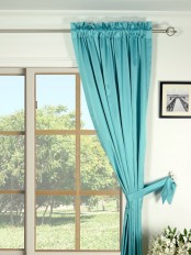 Waterfall Solid Blue Rod Pocket Faux Silk Curtain