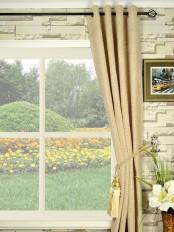 Coral Elegant Grommet Chenille Curtains