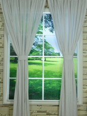 QYK246SA Eos Linen Natural Solid Custom Made Sheer Curtains (Color: White)