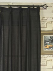 QYK246SBA Eos Linen Gray Black Solid Versatile Pleat Sheer Curtain
