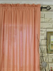 QYK246SEE Eos Linen Red Pink Solid Rod Pocket Sheer Curtain
