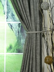 QYK246SG Eos Linen Multi Color Solid Custom Made Sheer Curtains (Color: Dim Gray)