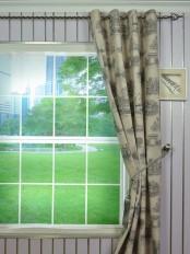 Eos Castle Printed Faux Linen Grommet Curtain