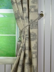 Eos Castle Printed Faux Linen Custom Made Curtains