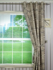 Eos Newspaper Printed Faux Linen Grommet Curtain
