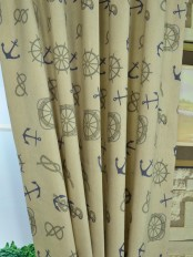 Eos Nautical Printed Faux Linen Custom Made Curtains