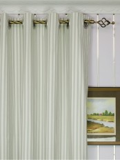 Modern Narrow Striped Cotton Blend Blackout Grommet Ready Made Curtain Heading Style