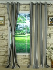 Modern Wide Striped Cotton Blend Blackout Grommet Ready Made Curtain Davys Grey Color