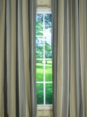 Modern Wide Striped Blackout Cotton Blend Custom Made Curtains (Color: Davys Grey)