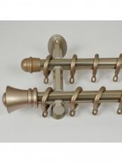 """QYR0121 1-1/8"""" Diameter Aluminum Alloy Acropolis Double Curtain Rod Set (Color: Rose Gold)"""
