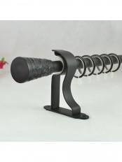 "QYR3422 3/4"" Floral Cork Finial Steel Single Curtain Rod Set"
